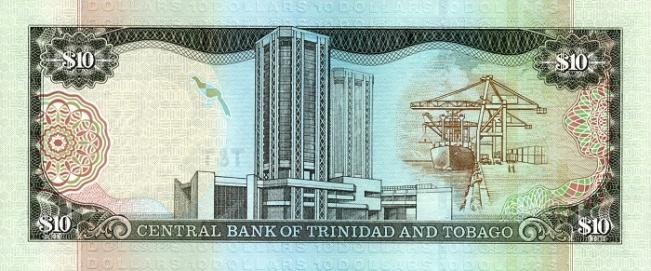 Доллар Тринидад и Тобаго. Купюра номиналом в 10 TTD, реверс (обратная сторона).