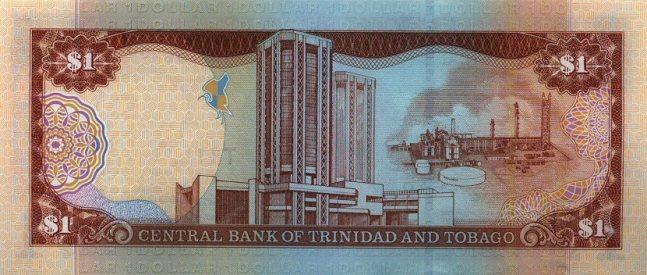 Доллар Тринидад и Тобаго. Купюра номиналом в 1 TTD, реверс (обратная сторона).