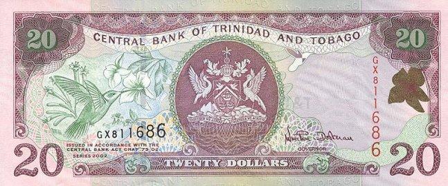 Доллар Тринидад и Тобаго. Купюра номиналом в 20 TTD, аверс (лицевая сторона).