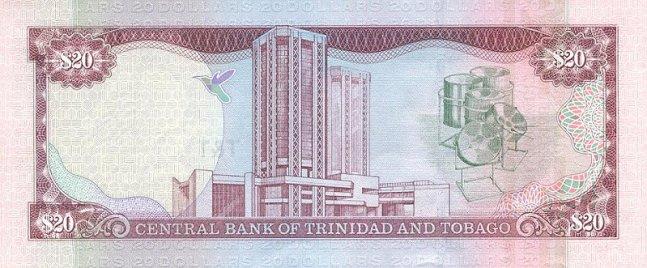 Доллар Тринидад и Тобаго. Купюра номиналом в 20 TTD, реверс (обратная сторона).