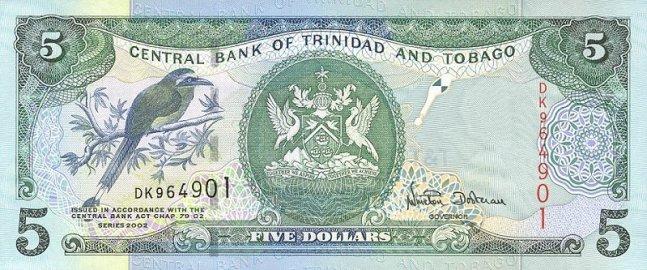 Доллар Тринидад и Тобаго. Купюра номиналом в 5 TTD, аверс (лицевая сторона).