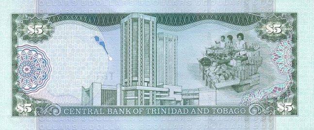 Доллар Тринидад и Тобаго. Купюра номиналом в 5 TTD, реверс (обратная сторона).