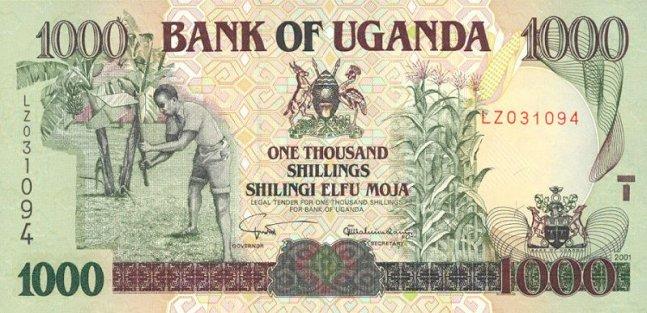 Угандийский шиллинг. Купюра номиналом в 1000 UGX, аверс (лицевая сторона).