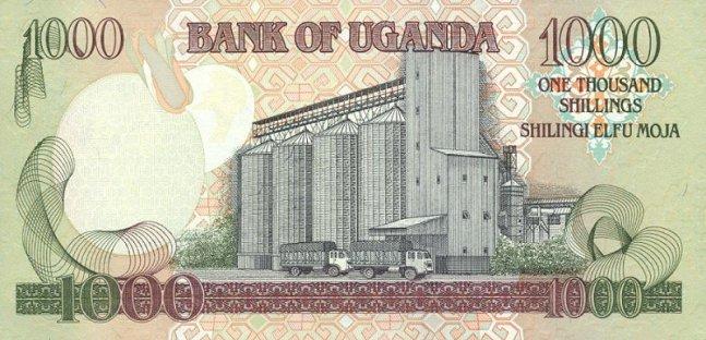 Угандийский шиллинг. Купюра номиналом в 1000 UGX, реверс (обратная сторона).