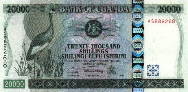 Угандийский шиллинг. Купюра номиналом в 20000 UGX, аверс (лицевая сторона).