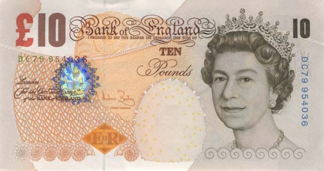 Фунт стерлингов Соединенного королевства. Купюра номиналом в 10 GBP, аверс (лицевая сторона).
