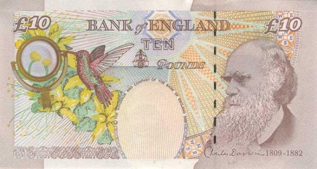 Фунт стерлингов Соединенного королевства. Купюра номиналом в 10 GBP, реверс (обратная сторона).