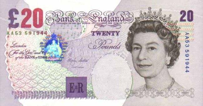 Фунт стерлингов Соединенного королевства. Купюра номиналом в 20 GBP, аверс (лицевая сторона).
