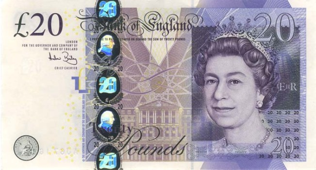 Фунт стерлингов Соединенного королевства. Купюра номиналом в 20 GBP, новая, аверс (лицевая сторона).