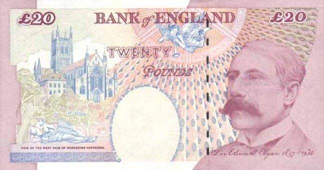 Фунт стерлингов Соединенного королевства. Купюра номиналом в 20 GBP, реверс (обратная сторона).