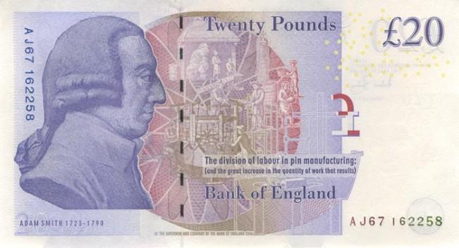 Фунт стерлингов Соединенного королевства. Купюра номиналом в 20 GBP, новая, реверс (обратная сторона).