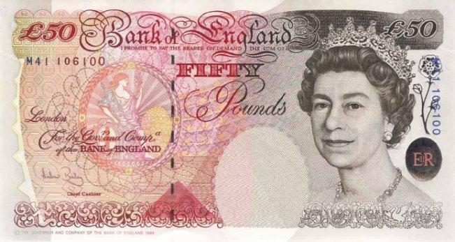Фунт стерлингов Соединенного королевства. Купюра номиналом в 50 GBP, аверс (лицевая сторона).