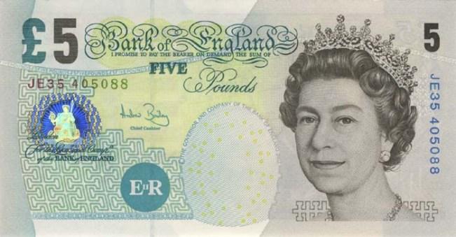 Фунт стерлингов Соединенного королевства. Купюра номиналом в 5 GBP, аверс (лицевая сторона).