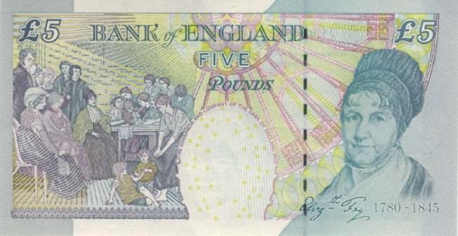 Фунт стерлингов Соединенного королевства. Купюра номиналом в 5 GBP, реверс (обратная сторона).