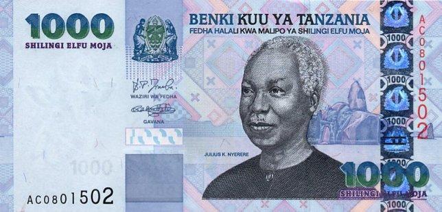 Танзанийский шиллинг. Купюра номиналом в 1000 TZS, аверс (лицевая сторона).