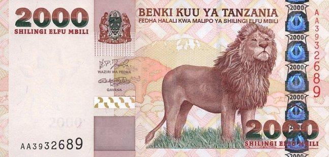 Танзанийский шиллинг. Купюра номиналом в 2000 TZS, аверс (лицевая сторона).