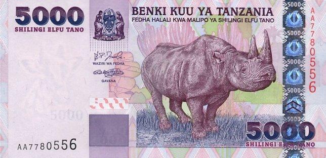 Танзанийский шиллинг. Купюра номиналом в 5000 TZS, аверс (лицевая сторона).