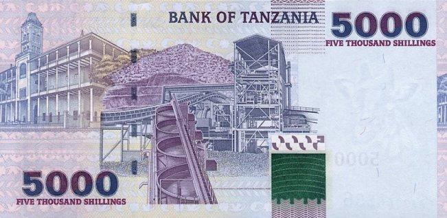 Танзанийский шиллинг. Купюра номиналом в 5000 TZS, реверс (обратная сторона).