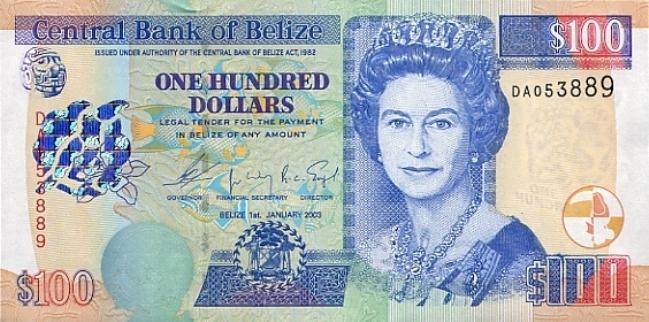 Белизский доллар. Купюра номиналом в 100 BZD, аверс (лицевая сторона).