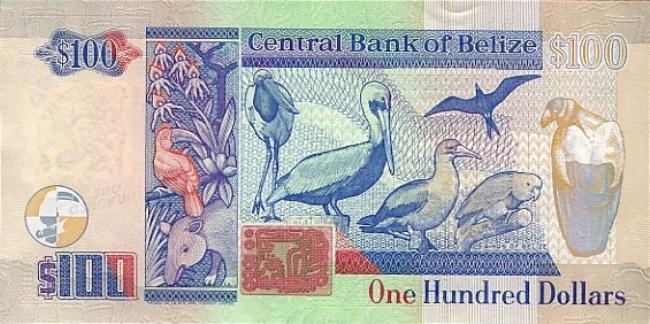 Белизский доллар. Купюра номиналом в 100 BZD, реверс (обратная сторона).