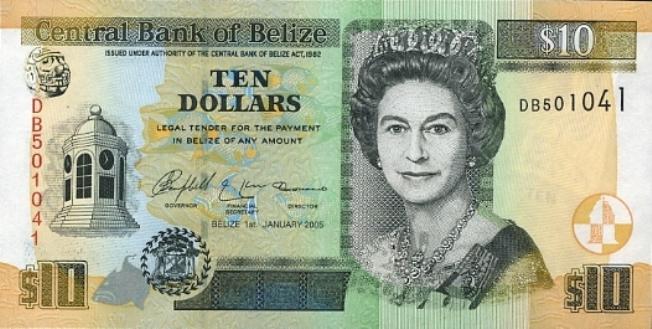 Белизский доллар. Купюра номиналом в 10 BZD, аверс (лицевая сторона).