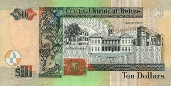 Белизский доллар. Купюра номиналом в 10 BZD, реверс (обратная сторона).