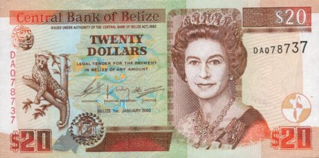 Белизский доллар. Купюра номиналом в 20 BZD, аверс (лицевая сторона).