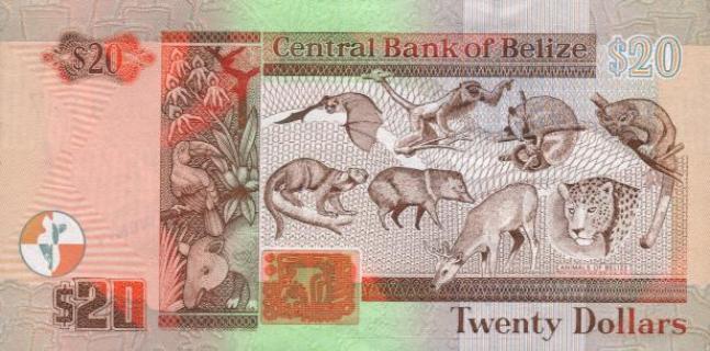 Белизский доллар. Купюра номиналом в 20 BZD, реверс (обратная сторона).