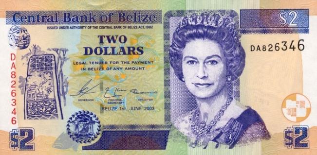 Белизский доллар. Купюра номиналом в 2 BZD, аверс (лицевая сторона).