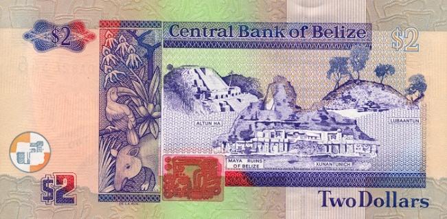 Белизский доллар. Купюра номиналом в 2 BZD, реверс (обратная сторона).