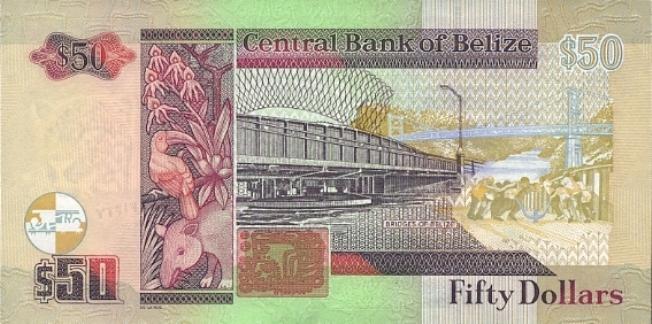 Белизский доллар. Купюра номиналом в 50 BZD, реверс (обратная сторона).