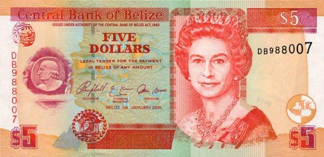 Белизский доллар. Купюра номиналом в 5 BZD, аверс (лицевая сторона).