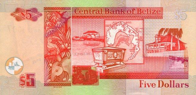 Белизский доллар. Купюра номиналом в 5 BZD, реверс (обратная сторона).