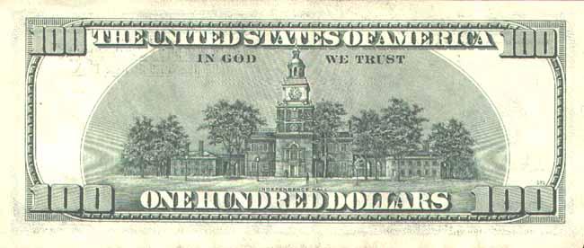 Доллар США. Купюра номиналом в 100 USD, реверс (обратная сторона).