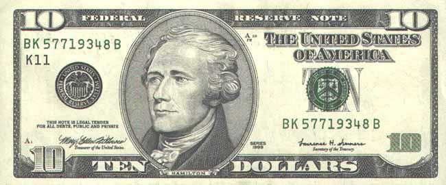 Доллар США. Купюра номиналом в 10 USD, аверс (лицевая сторона).