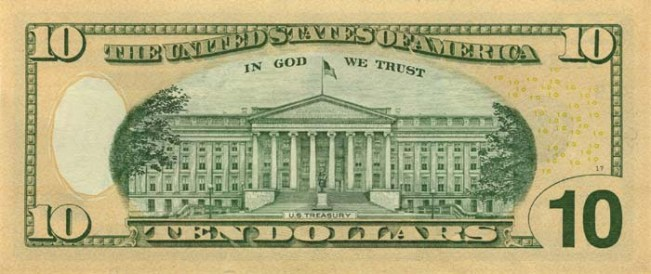 Доллар США. Купюра номиналом в 10 USD, в цвете, реверс (обратная сторона).
