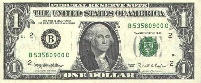 Доллар США. Купюра номиналом в 1 USD, аверс (лицевая сторона).