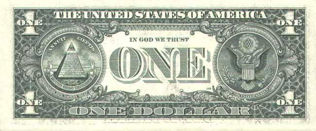 Доллар США. Купюра номиналом в 1 USD, реверс (обратная сторона).
