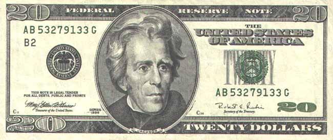 Доллар США. Купюра номиналом в 20 USD, аверс (лицевая сторона).