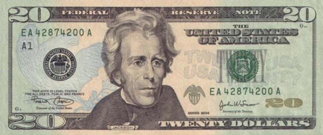 Доллар США. Купюра номиналом в 20 USD, в цвете, аверс (лицевая сторона).