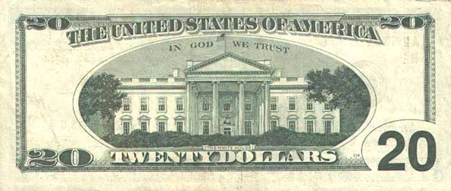 Доллар США. Купюра номиналом в 20 USD, реверс (обратная сторона).
