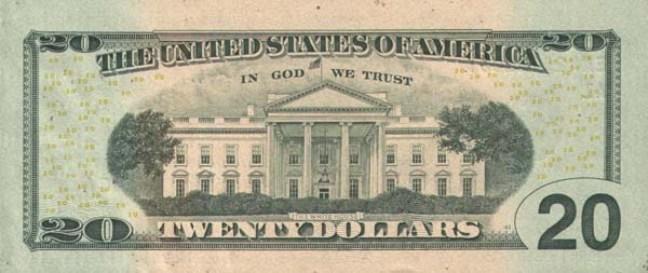 Доллар США. Купюра номиналом в 20 USD, в цвете, реверс (обратная сторона).