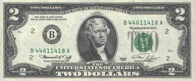 Доллар США. Купюра номиналом в 2 USD, аверс (лицевая сторона).