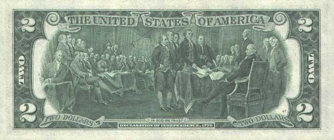Доллар США. Купюра номиналом в 2 USD, реверс (обратная сторона).