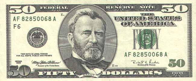 Доллар США. Купюра номиналом в 50 USD, аверс (лицевая сторона).