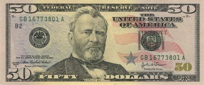 Доллар США. Купюра номиналом в 50 USD, в цвете, аверс (лицевая сторона).