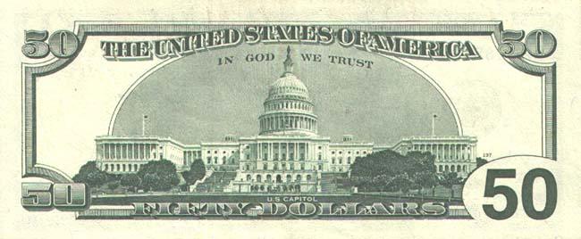 Доллар США. Купюра номиналом в 50 USD, реверс (обратная сторона).