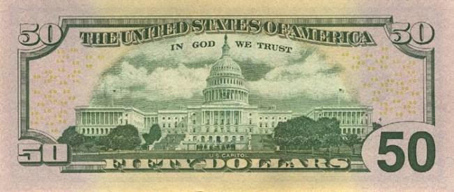 Доллар США. Купюра номиналом в 50 USD, в цвете, реверс (обратная сторона).