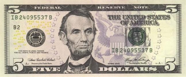 Доллар США. Купюра номиналом в 5 USD, в цвете, аверс (лицевая сторона).