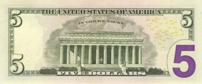 Доллар США. Купюра номиналом в 5 USD, в цвете, реверс (обратная сторона).